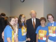 Senator Lieberman with delegates